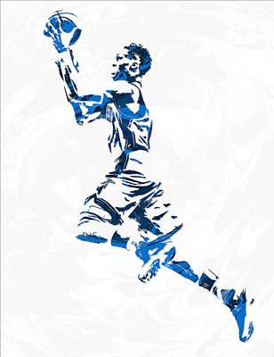 Oklahoma City Thunder Mixed Media - Russell Westbrook Oklahoma City Thunder Pixel Art 10 by Joe Hamilton