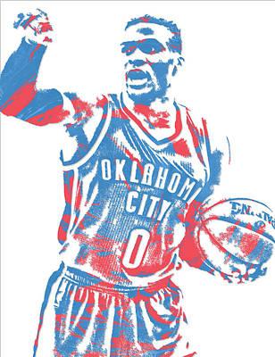 Oklahoma City Thunder Mixed Media - Russell Westbrook Oklahoma City Thunder Pixel Art 15 by Joe Hamilton