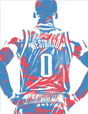 Oklahoma City Thunder Mixed Media - Russell Westbrook Oklahoma City Thunder Pixel Art 16 by Joe Hamilton