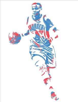 Oklahoma City Thunder Mixed Media - Russell Westbrook Oklahoma City Thunder Pixel Art 17 by Joe Hamilton
