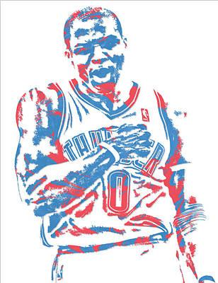 Oklahoma City Thunder Mixed Media - Russell Westbrook Oklahoma City Thunder Pixel Art 18 by Joe Hamilton
