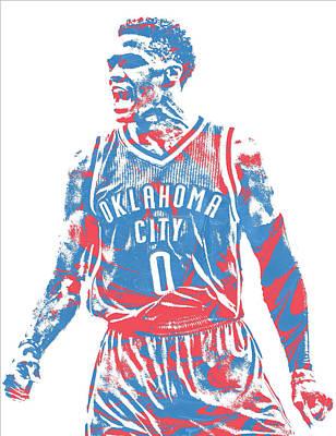 Oklahoma Mixed Media - Russell Westbrook Oklahoma City Thunder Pixel Art 34 by Joe Hamilton