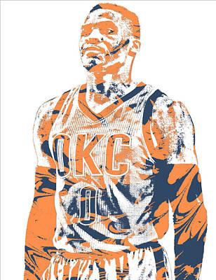 Oklahoma Mixed Media - Russell Westbrook Oklahoma City Thunder Pixel Art 35 by Joe Hamilton