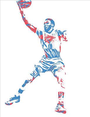 Oklahoma Mixed Media - Russell Westbrook Oklahoma City Thunder Pixel Art 38 by Joe Hamilton