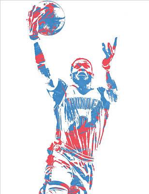 Oklahoma Mixed Media - Russell Westbrook Oklahoma City Thunder Pixel Art 39 by Joe Hamilton