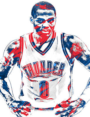 Basket Ball Mixed Media - Russell Westbrook Oklahoma City Thunder Pixel Art 4 by Joe Hamilton