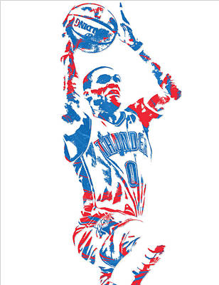 Thunder Mixed Media - Russell Westbrook Oklahoma City Thunder Pixel Art 7 by Joe Hamilton