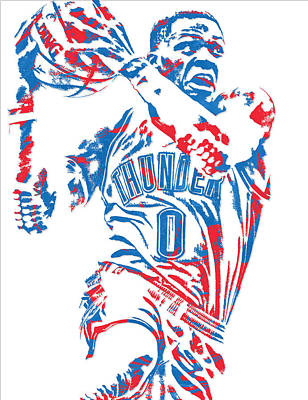Thunder Mixed Media - Russell Westbrook Oklahoma City Thunder Pixel Art 8 by Joe Hamilton