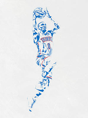 Russell Westbrook Oklahoma City Thunder Pixel Art Art Print by Joe Hamilton