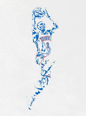 Oklahoma City Thunder Mixed Media - Russell Westbrook Oklahoma City Thunder Pixel Art by Joe Hamilton
