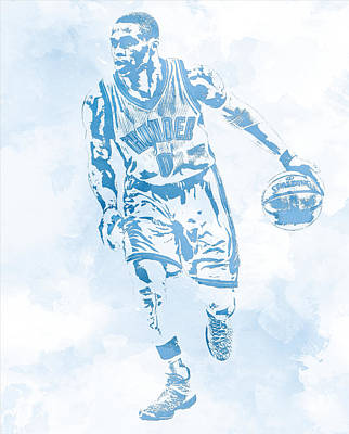 Mixed Media - Russell Westbrook Oklahoma City Thunder Water Color Pixel Art by Joe Hamilton