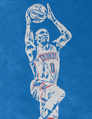 Mixed Media - Russell Westbrook Scratched Metal Art 2 by Joe Hamilton