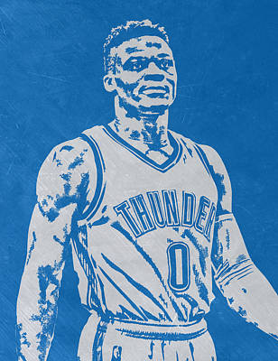 Mixed Media - Russell Westbrook Scratched Metal Art 3 by Joe Hamilton
