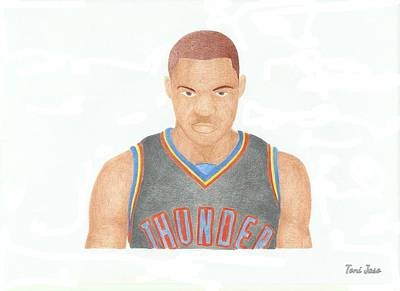 Drawing - Russell Westbrook  by Toni Jaso