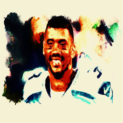 Carrington Mixed Media - Russell Wilson 02b by Brian Reaves