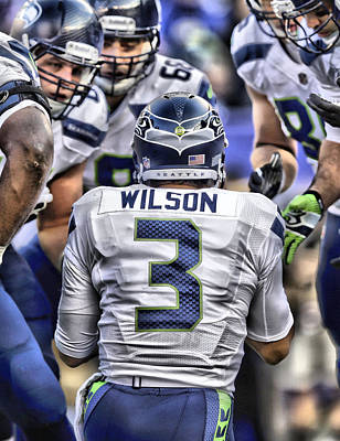 Football Painting - Russell Wilson Art 1 by Joe Hamilton