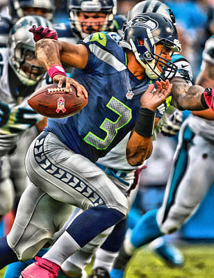 Football Painting - Russell Wilson Art 4 by Joe Hamilton