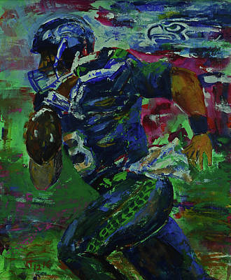 Painting - Russell Wilson - Seahawks Football by Walter Fahmy