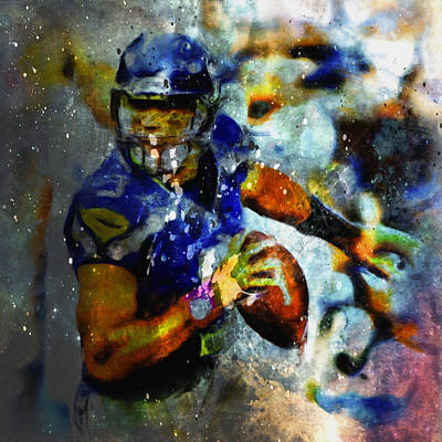 Carrington Mixed Media - Russell Wilson On The Move 1a by Brian Reaves