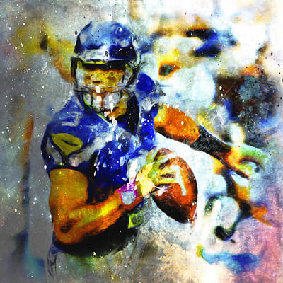 Carrington Mixed Media - Russell Wilson On The Move 1b by Brian Reaves