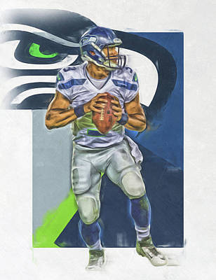 Seattle Mixed Media - Russell Wilson Seattle Seahawks Oil Art 2 by Joe Hamilton