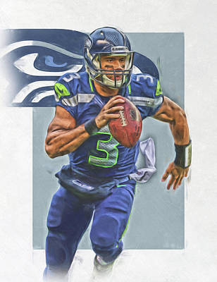 Seattle Mixed Media - Russell Wilson Seattle Seahawks Oil Art by Joe Hamilton