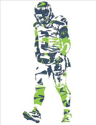 Seattle Mixed Media - Russell Wilson Seattle Seahawks Pixel Art 11 by Joe Hamilton