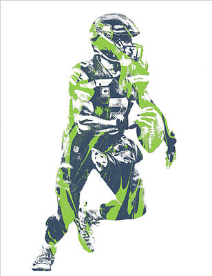 Seattle Mixed Media - Russell Wilson Seattle Seahawks Pixel Art 20 by Joe Hamilton