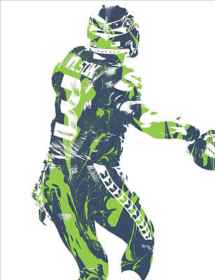 Mixed Media - Russell Wilson Seattle Seahawks Pixel Art 21 by Joe Hamilton