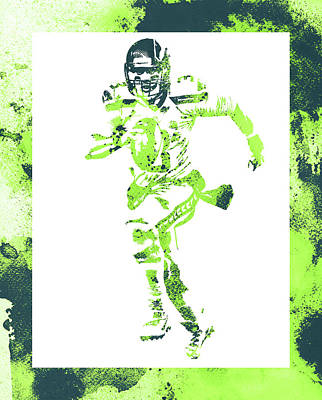 Mixed Media - Russell Wilson Seattle Seahawks Water Color Art 1 by Joe Hamilton