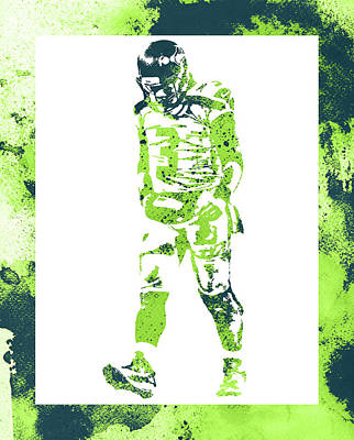 Mixed Media - Russell Wilson Seattle Seahawks Water Color Art 2 by Joe Hamilton