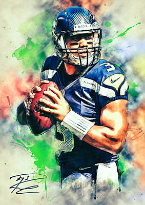 Football Paintings - Russell Wilson by Zapista