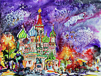 Painting - Russia Saint Basil Cathedral Watercolor And Ink Painting by Ginette Callaway
