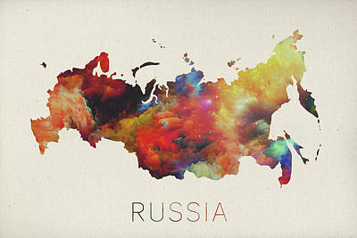 Russia Mixed Media - Russia Watercolor Map by Design Turnpike