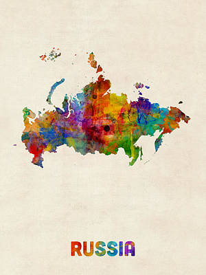 Russia Digital Art - Russia Watercolor Map by Michael Tompsett