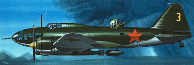 Bomber Painting - Russian Aircraft Of World War Two  Russian Ilyushin Bomber by Wilf Hardy
