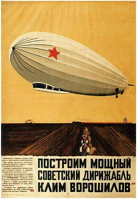 Royalty-Free and Rights-Managed Images - Russian Airshow Poster - Airship - Exposition poster - Retro travel Poster - Vintage Poster by Studio Grafiikka