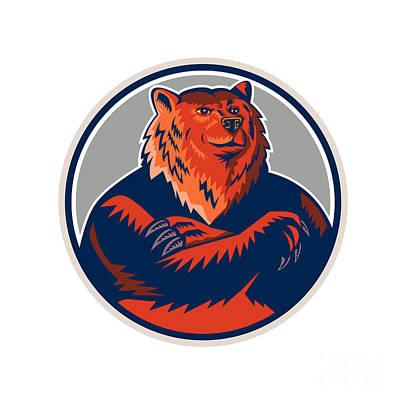Russian Bear Arms Folded Circle Retro Art Print by Aloysius Patrimonio