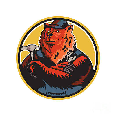 Russian Bear Builder Handyman Circle Woodcut Art Print by Aloysius Patrimonio