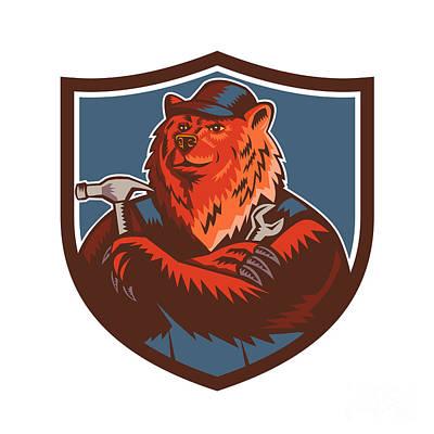 Russian Bear Builder Handyman Crest Woodcut Art Print by Aloysius Patrimonio