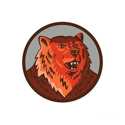 Russian Bear Head Growling Circle Retro Art Print