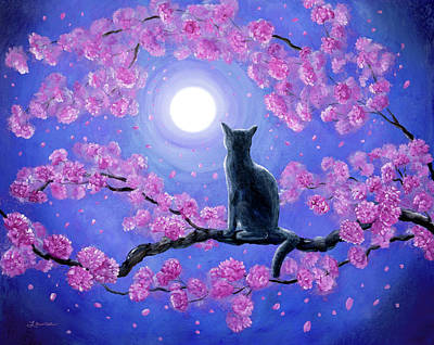 Russian Blue Cat In Pink Flowers Art Print by Laura Iverson