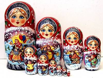 Matryoshka Sculpture - Russian Christmas Joy by Viktoriya Sirris