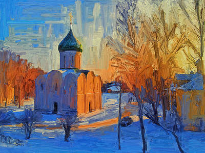 Digital Art - Russian Church In Winter 3 by Yury Malkov
