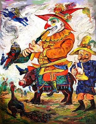 Painting - Russian Fable, Jester Farnos Rides On A Pig by Ari Roussimoff