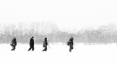 Photograph - Russian Fishermen Ice Fishing In Winter by John Williams