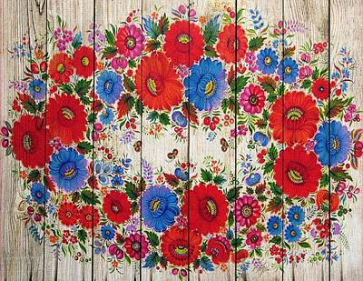 Mixed Media - Russian Folk Art On Wood 05 by Aloke Creative Store