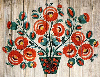 Mixed Media - Russian Folk Art On Wood 06 by Aloke Creative Store