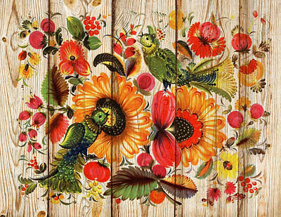 Mixed Media - Russian Folk Art On Wood 07 by Aloke Creative Store
