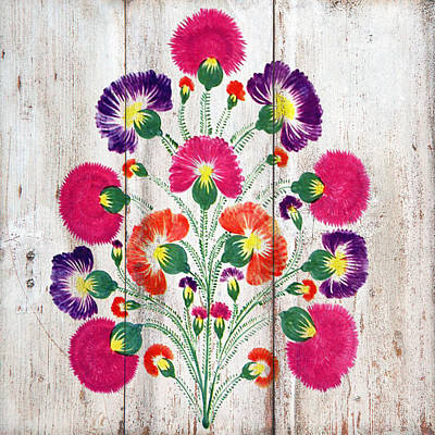 Mixed Media - Russian Folk Art On Wood 09 by Aloke Creative Store
